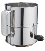 8 Cup Crank Stainless Steel Flour Sifter by Kitchen Winners