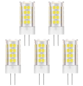 5-Pack, G4 LED Bulb - 5W / 400LM, Replaces 40W Traditional Halogen Bulb, Daylight White 6000K, DC/AC 12V