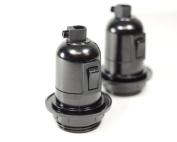 Bakelite Built in switch Vintage Lamp Light Bulb Holder | E27 ES SCREW | Black | 2 pack