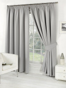 Pair of SILVER 170cm Width x 180cm Drop, Luxury FAUX SILK Pencil Pleat Curtains INCLUDING PAIR OF MATCHING TIE BACKS, by VICEROY BEDDING