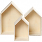 Set of 3 Wooden Box House Shaped Shelf Box, Wooden wall art – Untreated Wood