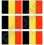 "BELGIUM Belgian Flag 40mm (1,6"") Mobile Cell Phone Vinyl Mini Stickers, Decals x6"