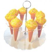 Super Cool Creations Acrylic Ice Cream Cone Stand with 8 Cone Holder for Ices/Popcorn/Sweets/Savouries, Clear