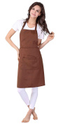 WM Beauty Classic Pure Colour Kitchen Apron with Adjustable Shoulder Strap and Front Pocket, Brown