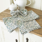 Licenced William Morris Willow Bough Green Pack of 4 100% Cotton Floral Napkins
