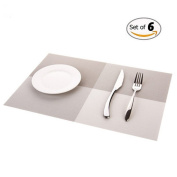 Hangnuo Heat-proof PVC Placemat Washable Anti-slip Dining Table Mat Protecter Set of 6