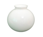 """20cm dia. (8"""") Splayed Neck Replacement White Glass Spherical Globe Lamp Shade. Splayed neck width: 10.3cm , Hole"""