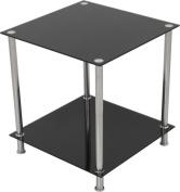 AVF T52 Living Room 2 Shelf Lamp Table in Black Glass with Chrome Legs