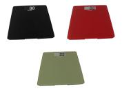 Escali Glass Platform Bathroom Scale, 440 Lb / 200 Kg - Black, Red and Green, Set of 3