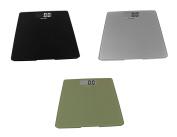 Escali Glass Platform Bathroom Scale, 440 Lb / 200 Kg - Black, Silver and Green, Set of 3