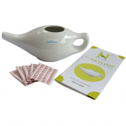Ceramic Neti Pot for Nasal Cleansing With 10 Sachet Neti Salt by HealthGoodsEU