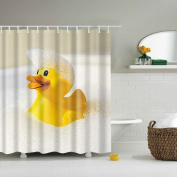GWELL Big Yellow Duck Design Shower Curtain Waterproof/Mildew Resistant Fabric Bathroom Curtain with 12 Hooks
