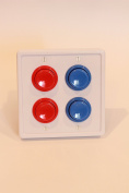 Arcade Light Switch Plate Cover, (White/Red Red,Blue Blue) Double Switch, 2-Gang Standard Size Rocker Wall Plate, Game Room Decorator, Kid Bedroom Wallplate, Faceplate Replacement
