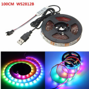 USB LED Strip,SOLMORE WS2812B 5050 SMD LED Strip Light Flexible Light Strip Ribbon Lights Waterproof for Wedding Party Home Wall Garden Fence Patio Colour Changing Decorations 100cm