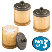 mDesign Bathroom Vanity Storage Organiser Canister Jars for Q tips, Cotton Swabs, Cotton Rounds, Cotton Balls, Makeup Sponges, Bath Salts - Pack of 3, Amber/Bronze