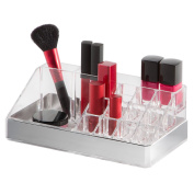 Clear Cosmetic Storage Organiser/Display Tray, 16 Compartments, With Silver Base
