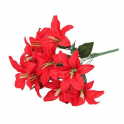 gloednApple Artificial Lilies Flowers, 1 Bouquet 10 Heads Silk Floral Silk Flower Garland Party Wedding Home Decor