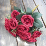 Artificial Rose Flowers, 12 Heads Silk Rose Leaf Flower Bridal Bouquet Garland Wedding Home Decor