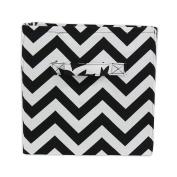 Brite Ideas Living & Company Zig Zag Black Storage Bin with Handle, Black Thread, 28cm Height x 27cm Width