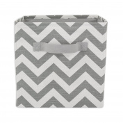 Brite Ideas Living & Company Zig Zag Ash Storage Bin with Handle, White Thread, 28cm Height x 27cm Width