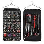 WYD Double-sided 40 Grid Jewellery Wardrobe Bag Storage Bag Non-woven PVC Bathroom Household Organiser Bag