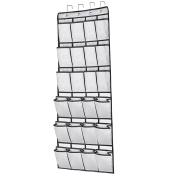 24 Large Pockets Hanging Over the Door Shoe Organisers with 4 Steel Over the Door Hooks