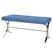 Joveco Textured Metal Arc Leg Tufted Table Bench, Blue Fabric