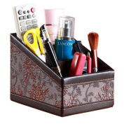 PU Leather Large Storage Box Tabletop Office Stationery Sundries Organiser Case Pen Pencil Remote Control Mobile Phone Cosmetics Collection Holder