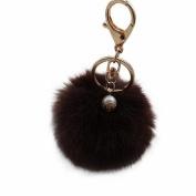 Bolayu Rabbit Fur Ball Keychain Bag Plush Car Key Ring Pendant