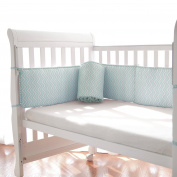 TillYou Baby Crib Bumper -Premium Woven Cotton, Padded Breathable Fill-in(Microfiber)- Blue Broken line