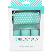 Oh Baby Bags Nappy Bag Clip-On Dispenser Gift Box with Scented Disposable Bags for Dirty Nappies - Recycled Plastic - Seadot Duffle plus 48 Seafom Scented Bags