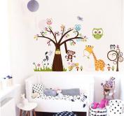 Jessie & letty Jungle Zoo Animal Tree Giraffe Monkey Owl Wall Stickers Decal for Kids Room Nursery Decoration