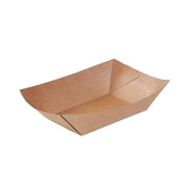 250x disposable bowls, carton food tray | 400ml | unbleached brown carton | with bio-coating | 100% biodegradable, compostable | for fingerfood, buffets & snacks