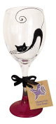 Red cat hand painted wine glass made uk