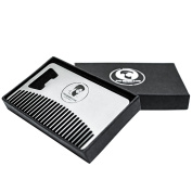 Metal Beard Comb and Bottle Opener - Ideal for Oils & Balms - Comes in Gift Box
