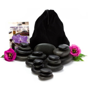 Purovi Hot Stone Massage Professional Set | 20 Natural Basalt Stones in Elegant Velvet Sack
