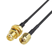 SZ-SIMON 0.2m 15cm Rf Electrical Wire Coaxial Cable Connector RP-SMA female bulkhead nut to RP-SMA male Straight Assembly Pigtail Extension RG174