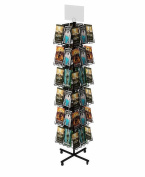 Fixture Displays Rotating Wire CD Rack w/ Sign Clip, Floorstanding, 14cm Pocket Full-View DVD CD Greeting Card, 48 Pockets - Black 19348