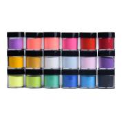 Ecurson 18 Colours Acrylic Nail Art Tips UV Gel Powder Dust Design Decoration 3D Manicure