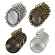 eBoot 12 Pieces Oval Pendant Trays and 12 Pieces Round Bezels with 24 Pieces Glass Cabochon Dome Tiles Clear Cameo, 48 Pieces