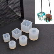 Sparklelife 6 Pcs Silicone DIY Bead Mould Round Square Shape Jewellery Making Hand Craft Tool