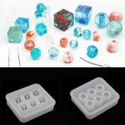 Sparklelife 2 Pcs Silicone DIY Bead Mould Round Square Shape Jewellery Making Hand Craft Tool
