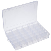 Outus 2 Pack 36 Grids Jewellery Dividers Box Organiser Adjustable Clear Plastic Bead Case Storage Container