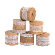 Satinior 6 Pieces Natural Burlap Craft Ribbon Roll with White Lace for DIY Handmade Wedding Crafts Lace Linen, 200cm