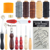 SOTOGO 16 Pcs Leather Craft Hand Stitching Sewing Tool Thread Awl Waxed Thimble Kit