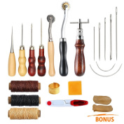 Leather Sewing Tools SIMPZIA 15 Pieces Leather Tools Carft DIY Hand Stitching Kit with Groover Awl Waxed Thimble Thread for Sewing Leather, Canvas or Other Leathercarft Projects