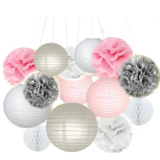 Fascola Pack of 14 White Pink Grey Paper Crafts Tissue Paper Honeycomb Balls Lanterns Paper Pom Poms Birthday Wedding Party Decoration