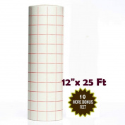 Best Crafts 30cm X 7.6m Roll Transfer Paper w/ Grid- Perfect Alignment of Cameo or Cricut Self Adhesive Vinyl for Decals, walls, Signs, ceramics, glass, Windows and Other Smooth Surfaces