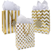 12 Gift Boutique Medium Metallic Gold Gift Bags; Polka Dots, Stripes & Chevron Exquisite Designs; Birthday, Graduation, Baby Shower, Wedding Gift Bags