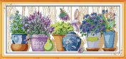 Benway Counted Cross Stitch Kit the Pottings Purple Flowers on the Windowsill 14 Count 59x27cm